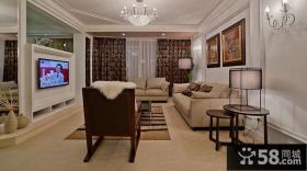 简欧式客厅石膏电视背景墙效果图