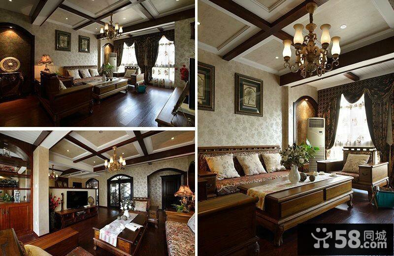 美式风格60平米小户型客厅吊顶装修效果图