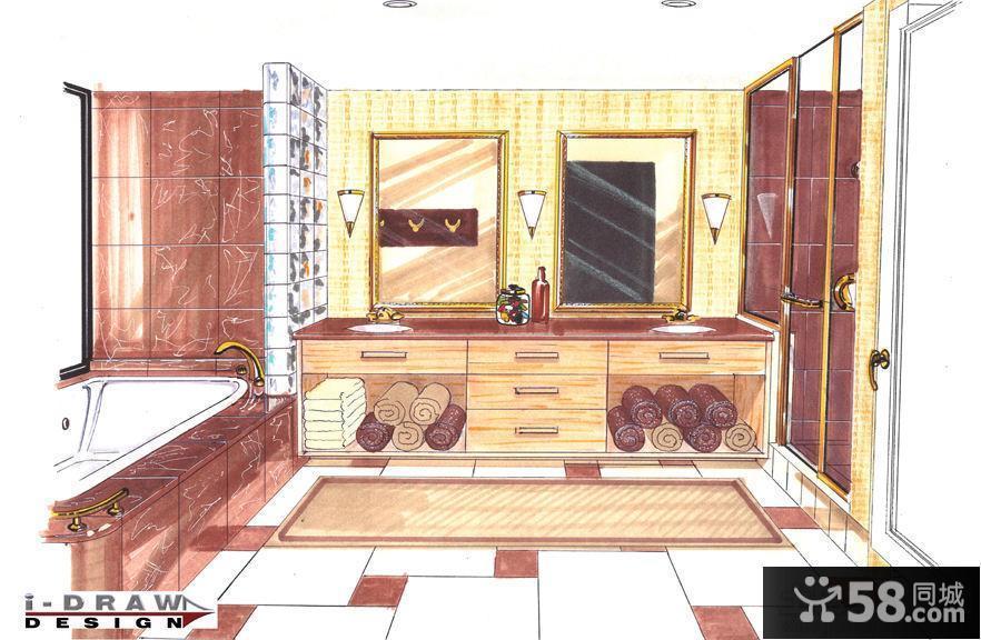 卫生间马克笔手绘效果图