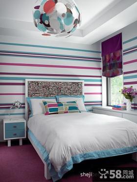 卧室彩色条纹壁纸贴图