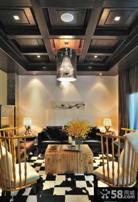 美式别墅家庭室内客厅吊顶图片