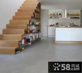 木制室内阁楼楼梯效果图