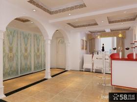 现代简约客厅玄关装修效果图 走廊吊顶装修效果图