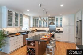 欧式简约风格开放式厨房装修效果图大全2013图片