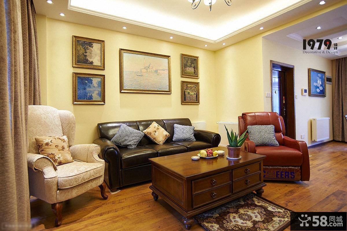 美式客厅沙发背景墙装饰画图片