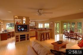 美式风格厨房电视隔断墙装修效果图