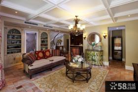 别墅客厅有梁吊顶装修效果图