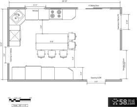 家庭厨房平面图