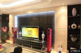 现代新古典风格三居电视背景墙效果图欣赏