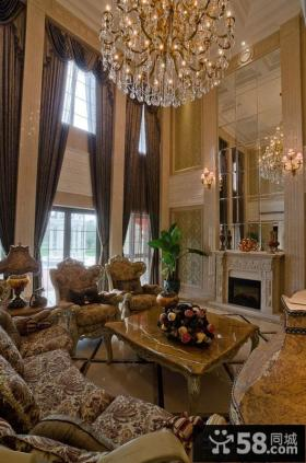 法式风格别墅挑高客厅效果图