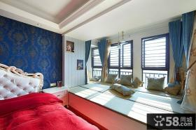 欧式卧室飘窗图