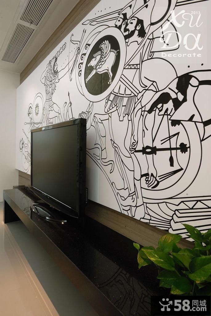 【现代手绘电视背景墙】 - 58同城装修效果图大全