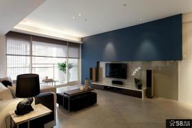 极简风格80平米小户型客厅电视背景墙效果图