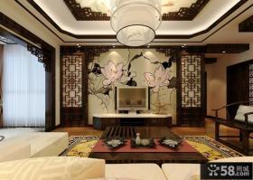 2013新中式客厅电视背景墙效果图