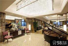 现代别墅豪华室内装修水晶吸顶灯图片