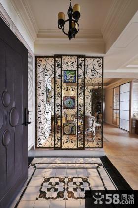 美式风格三居室装修玄关隔断效果图