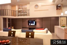 小户型复式楼客厅电视背景墙效果图