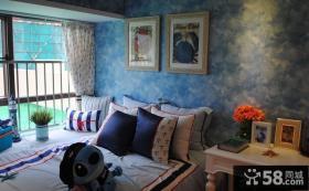 地中海风格卧室墙纸图片