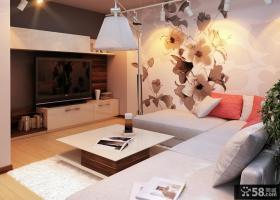 简约客厅装修手绘沙发背景墙效果图