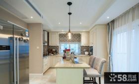 简欧风格厨房吧台设计装修图片