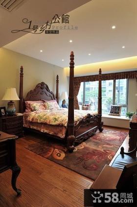 美式乡村风格卧室实木床装修效果图