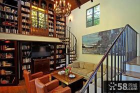 别墅客厅旋转楼梯图片