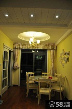 欧式田园风格餐厅圆形吊顶装修效果图