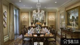 法式风格豪华别墅西餐厅设计效果图