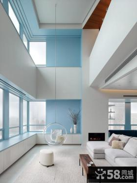 极简风格别墅客厅秋千椅图片