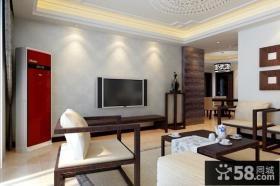 简约中式客厅电视背景墙装修效果图