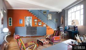现代复式楼小客厅装修效果图