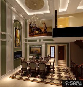 欧式风格复式客厅饭厅吊顶效果图