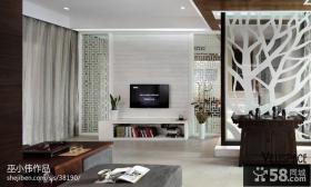 中式简约客厅电视背景墙设计