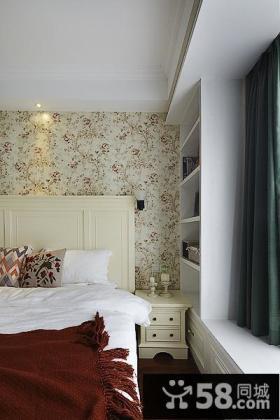 美式田园风格床头墙纸设计