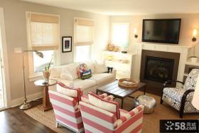 小客厅壁炉电视背景墙设计效果图