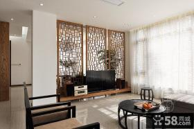 新中式客厅电视墙装修图片