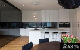 开放式整体厨房吧台设计效果图