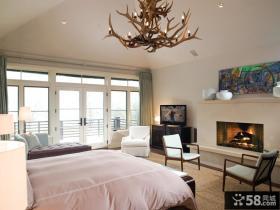欧式简约主卧室装修效果图大全 卧室创意灯吊顶装饰图片
