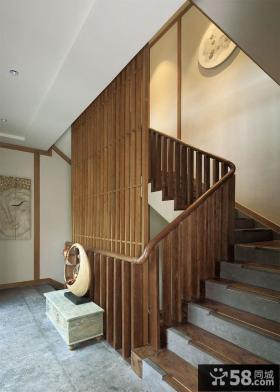日式别墅实木楼梯装修设计图片