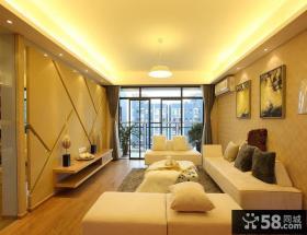 现代简约二居暖色调客厅吊顶效果图