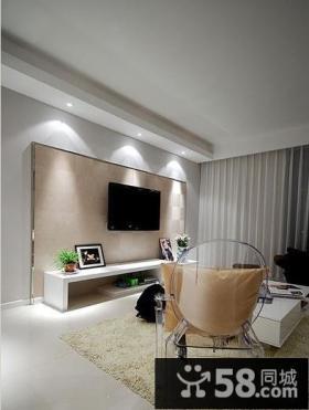简约小户型客厅瓷砖电视背景墙效果图