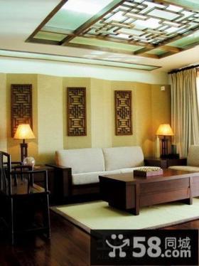 新中式一居室客厅吊顶装修效果图片