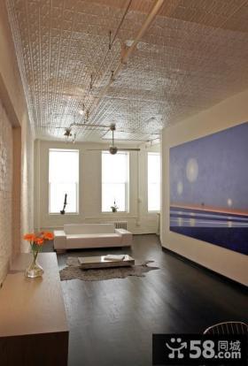 2013年客厅蓝色背景墙装饰效果图