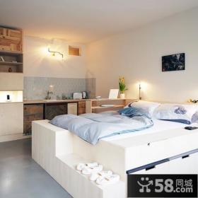 80平小户型温馨卧室装修效果图大全2014图片
