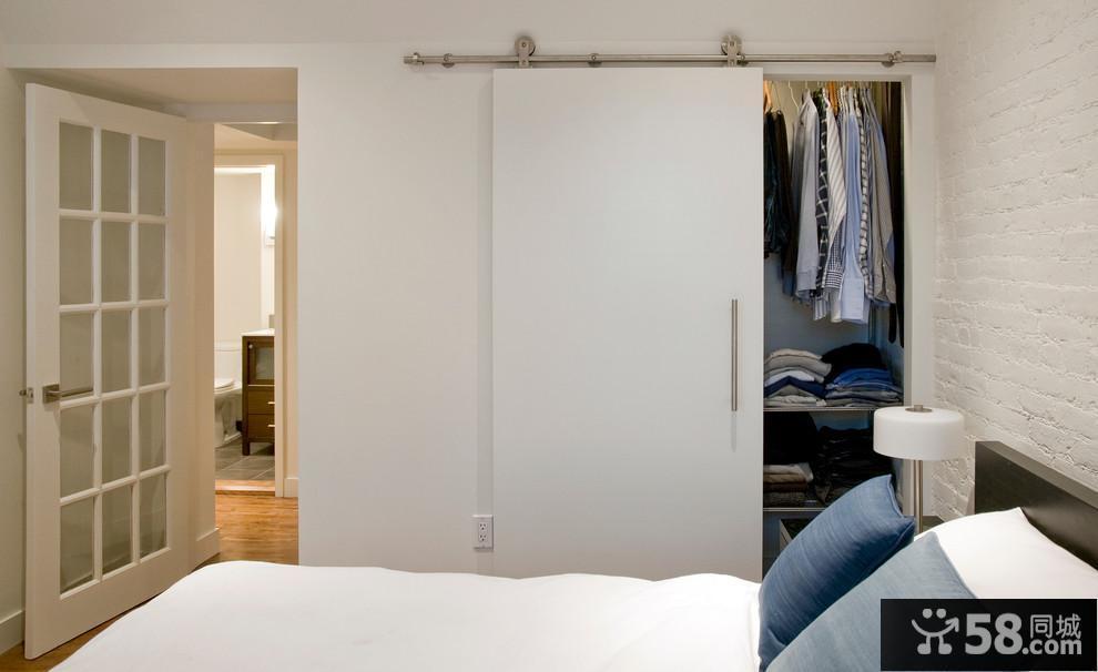 卧室简约推拉门衣柜图片