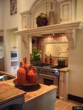 别墅厨房浮雕装饰效果图