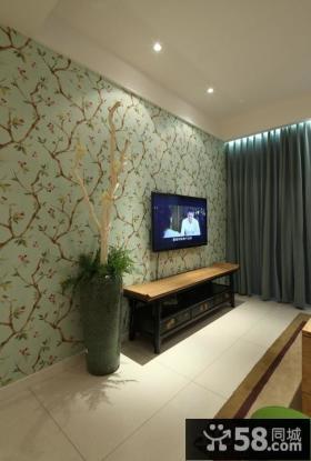 新中式风格客厅电视墙装修图片大全