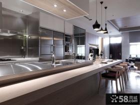 灰色调素雅的复式厨房装修效果图大全2012图片