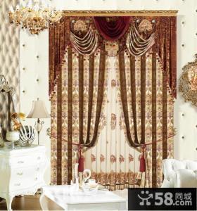 美式风格摩力克窗帘效果图