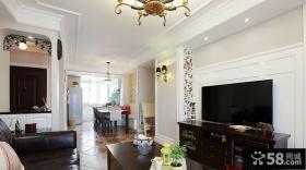 现代美式风格客厅液晶电视机背景墙效果图